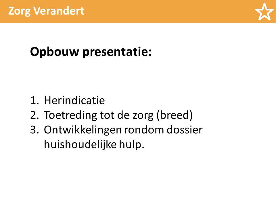 Zorg Verandert Opbouw presentatie: 1.Herindicatie 2.Toetreding tot de zorg (breed) 3.Ontwikkelingen rondom dossier huishoudelijke hulp.