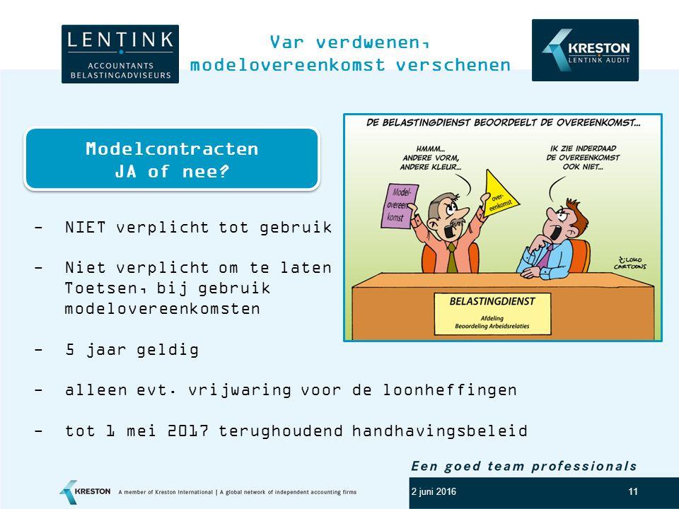 Logo klant 11 Var verdwenen, modelovereenkomst verschenen 2 juni 2016 - NIET verplicht tot gebruik - Niet verplicht om te laten Toetsen, bij gebruik modelovereenkomsten - 5 jaar geldig - alleen evt.
