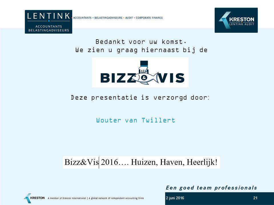 Logo klant 21 2 juni 2016 Wouter van Twillert Deze presentatie is verzorgd door: Bedankt voor uw komst.