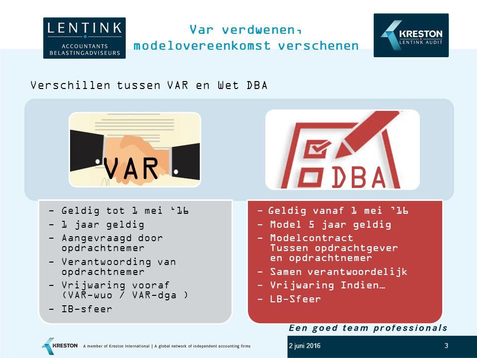Logo klant 3 Var verdwenen, modelovereenkomst verschenen 2 juni 2016 Verschillen tussen VAR en Wet DBA - Geldig tot 1 mei '16 - 1 jaar geldig - Aangevraagd door opdrachtnemer - Verantwoording van opdrachtnemer - Vrijwaring vooraf (VAR-wuo / VAR-dga ) - IB-sfeer - Geldig vanaf 1 mei '16 - Model 5 jaar geldig - Modelcontract Tussen opdrachtgever en opdrachtnemer - Samen verantwoordelijk - Vrijwaring Indien… - LB-Sfeer VAR DBA
