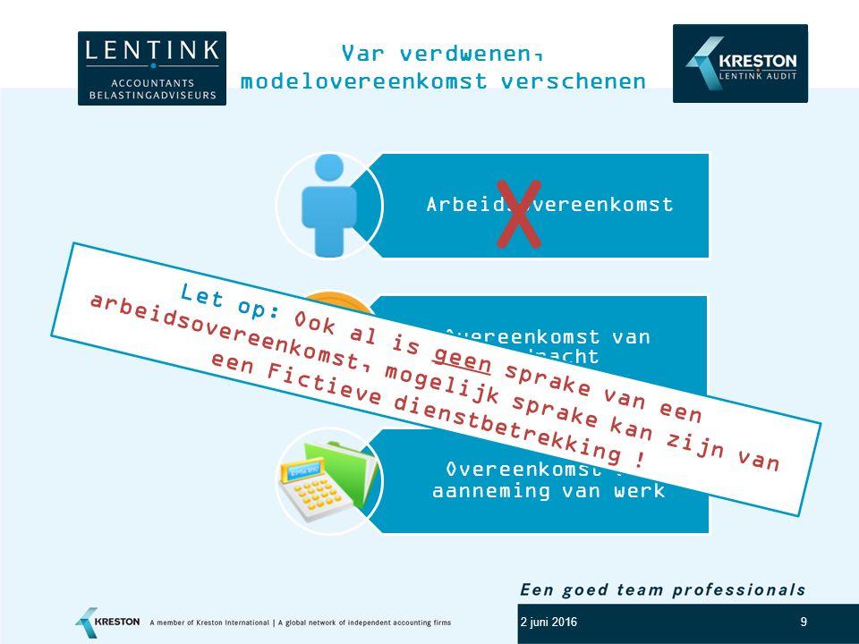 Logo klant 9 Var verdwenen, modelovereenkomst verschenen 2 juni 2016 Arbeidsovereenkomst Overeenkomst van opdracht Overeenkomst van aanneming van werk X Let op: Ook al is geen sprake van een arbeidsovereenkomst, mogelijk sprake kan zijn van een Fictieve dienstbetrekking !