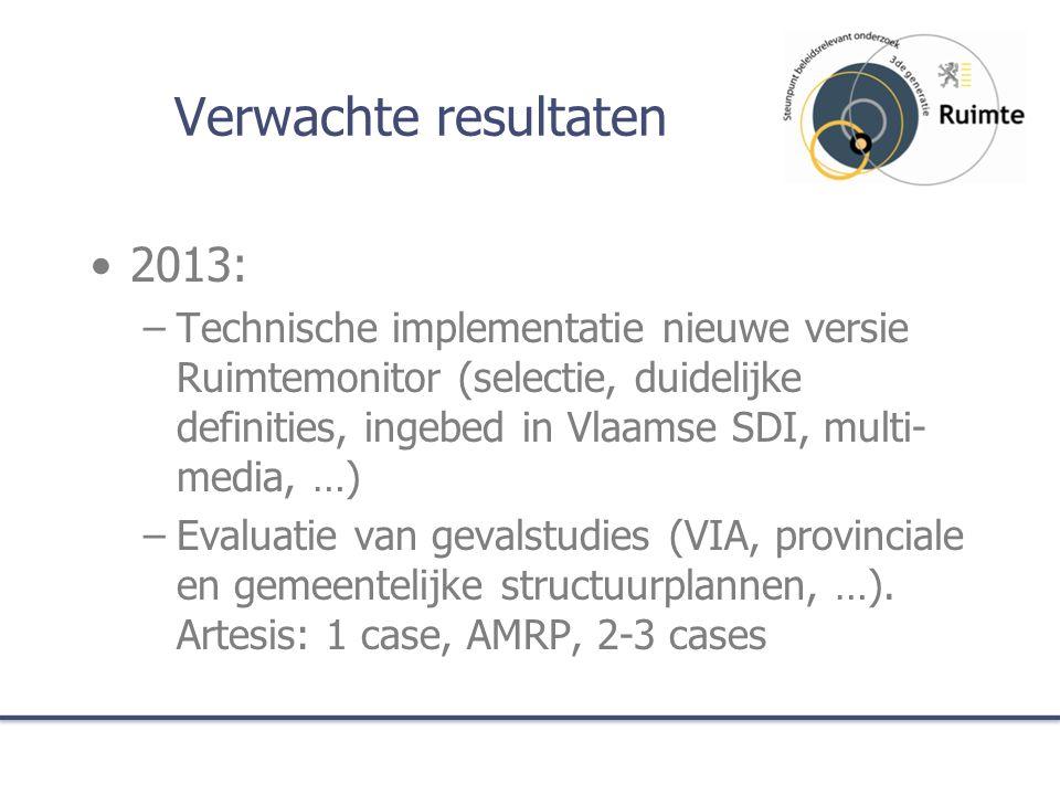 Verwachte resultaten 2013: –Technische implementatie nieuwe versie Ruimtemonitor (selectie, duidelijke definities, ingebed in Vlaamse SDI, multi- medi