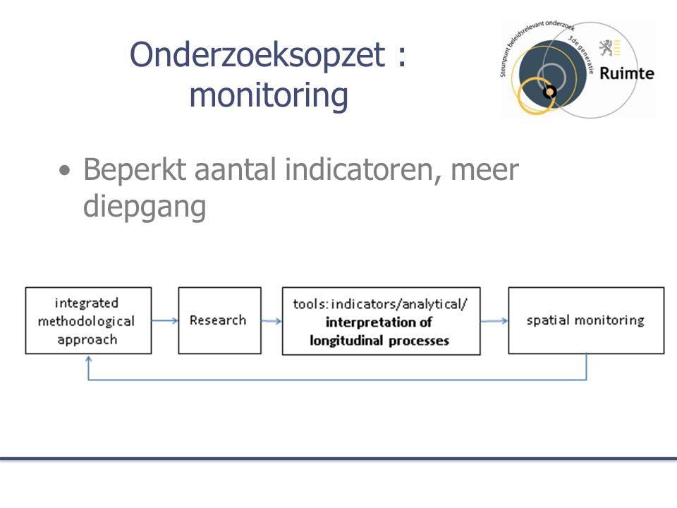 Onderzoeksopzet : monitoring Beperkt aantal indicatoren, meer diepgang