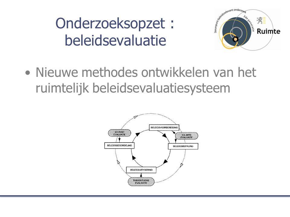 Onderzoeksopzet : beleidsevaluatie Een selectie van processen en/of ruimtelijke projecten evalueren om aanpassingen te suggereren voor planningsinstrumenten, processen, concepten en strategieën, en deze te integreren in het cyclisch planningsproces