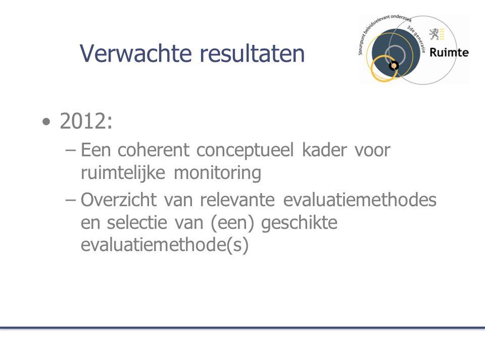 Verwachte resultaten 2013: –Technische implementatie nieuwe versie Ruimtemonitor (selectie, duidelijke definities, ingebed in Vlaamse SDI, multi- media, …) –Evaluatie van gevalstudies (VIA, provinciale en gemeentelijke structuurplannen, …).