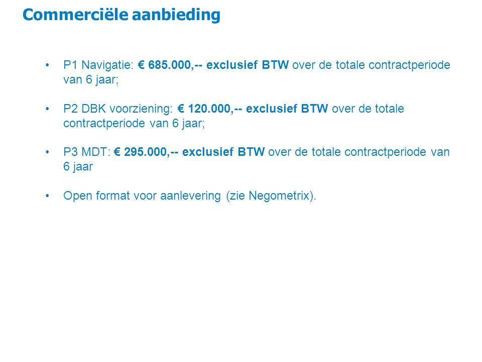 Commerciële aanbieding P1 Navigatie: € 685.000,-- exclusief BTW over de totale contractperiode van 6 jaar; P2 DBK voorziening: € 120.000,-- exclusief