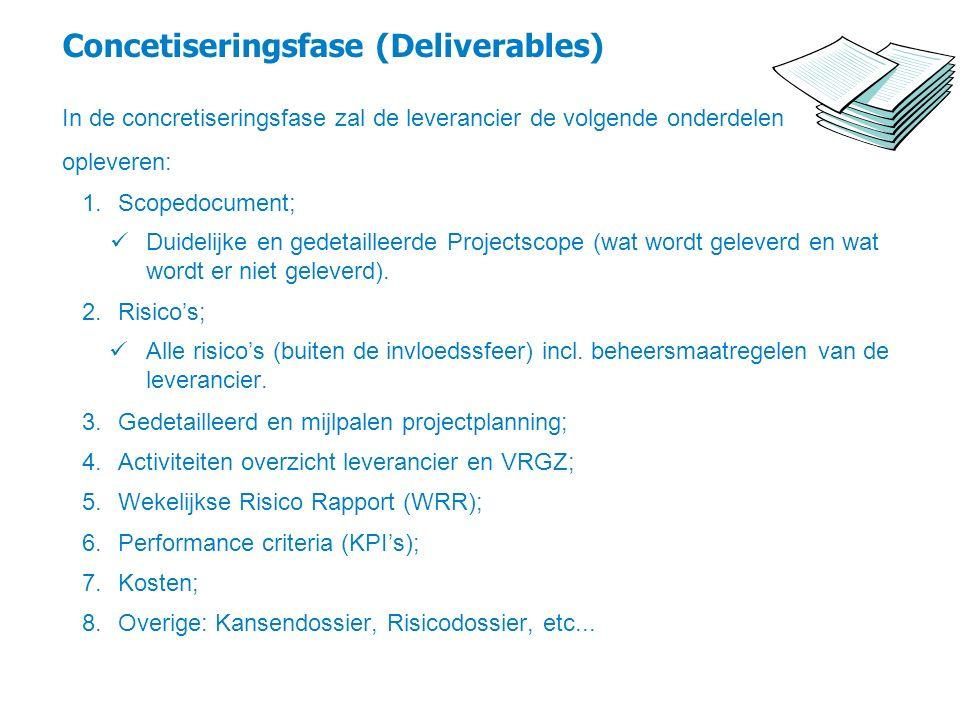 Concetiseringsfase (Deliverables) In de concretiseringsfase zal de leverancier de volgende onderdelen opleveren: 1.Scopedocument; Duidelijke en gedeta
