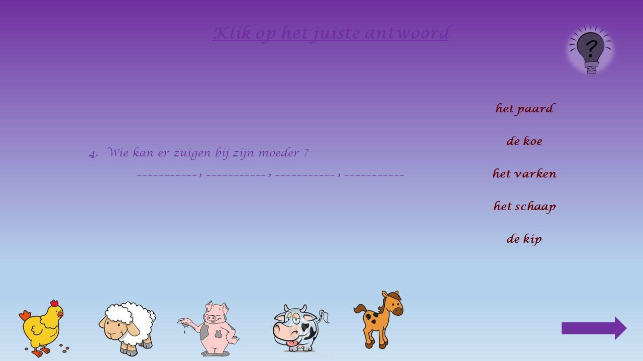 3.Welke dieren herkauwen hun voedsel ? ____________ en ____________ Klik op het juiste antwoord het paard de koe het varken het schaap de kip
