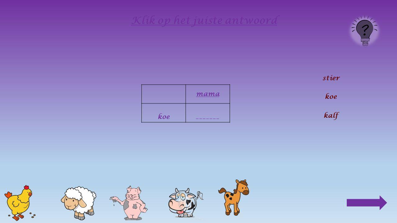 6.Wie is er de baas, Bij de kip : het mannetje, de haan Bij het schaap : het mannetje, de ram Bij het paard : het mannetje, de hengst Bij de koe : ____________________________ het vrouwtje, de koe het mannetje, de stier Klik op het juiste antwoord