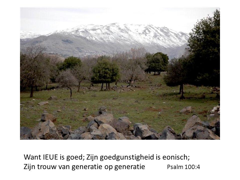 Want IEUE is goed; Zijn goedgunstigheid is eonisch; Zijn trouw van generatie op generatie Psalm 100:4
