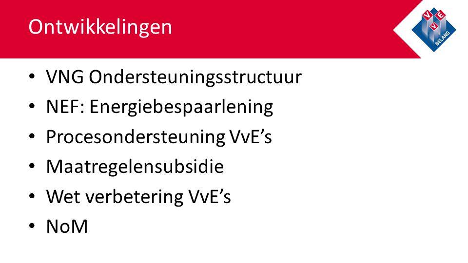VNG Ondersteuningsstructuur NEF: Energiebespaarlening Procesondersteuning VvE's Maatregelensubsidie Wet verbetering VvE's NoM