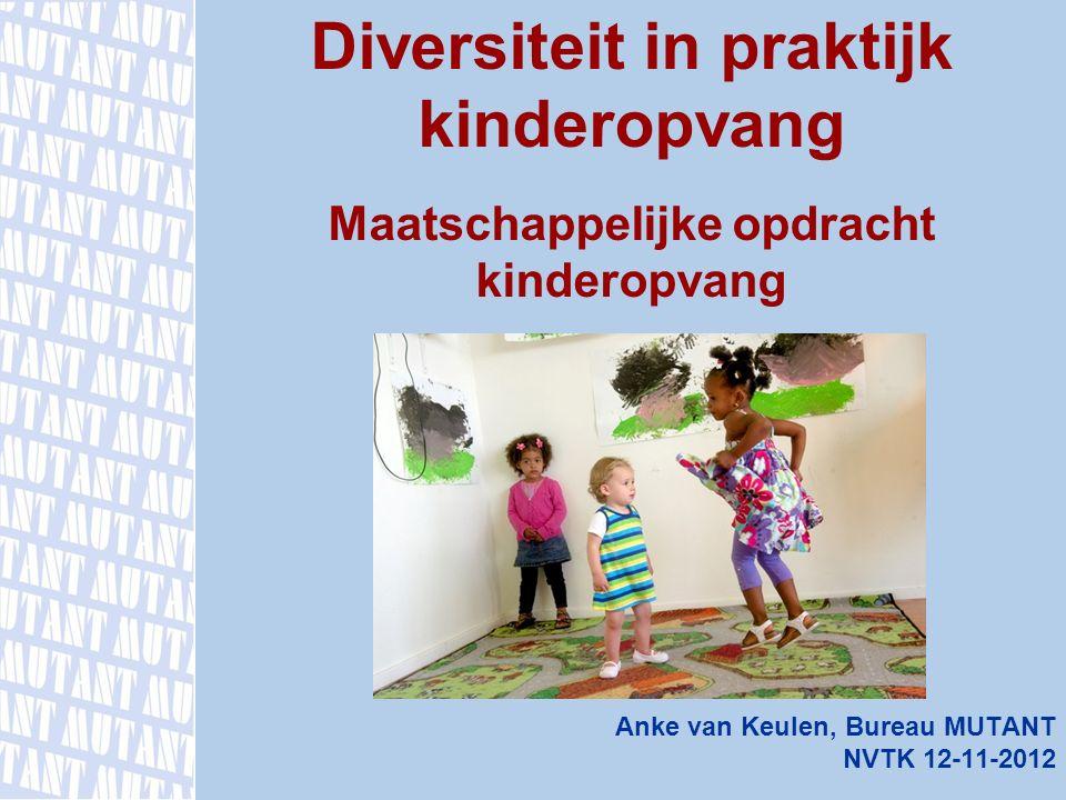 Anke van Keulen, Bureau MUTANT NVTK 12-11-2012 Diversiteit in praktijk kinderopvang Maatschappelijke opdracht kinderopvang www.mutant.nl