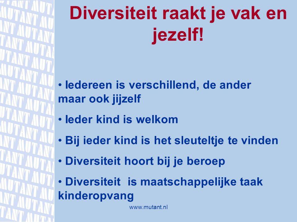 Diversiteit raakt je vak en jezelf! Iedereen is verschillend, de ander maar ook jijzelf Ieder kind is welkom Bij ieder kind is het sleuteltje te vinde