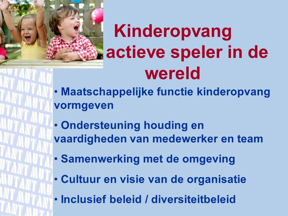 Kinderopvang actieve speler in de wereld Maatschappelijke functie kinderopvang vormgeven Ondersteuning houding en vaardigheden van medewerker en team