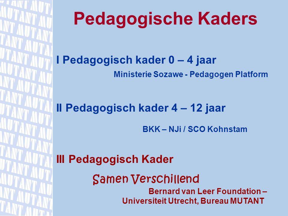 Pedagogische Kaders I Pedagogisch kader 0 – 4 jaar Ministerie Sozawe - Pedagogen Platform II Pedagogisch kader 4 – 12 jaar BKK – NJi / SCO Kohnstam II