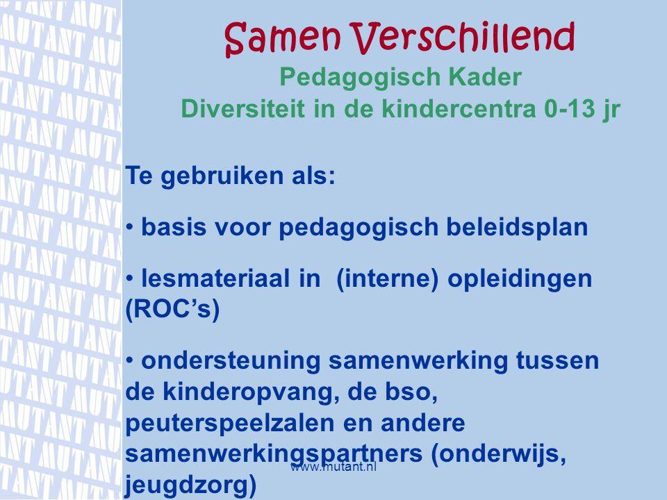 Samen Verschillend Pedagogisch Kader Diversiteit in de kindercentra 0-13 jr Te gebruiken als: basis voor pedagogisch beleidsplan lesmateriaal in (inte