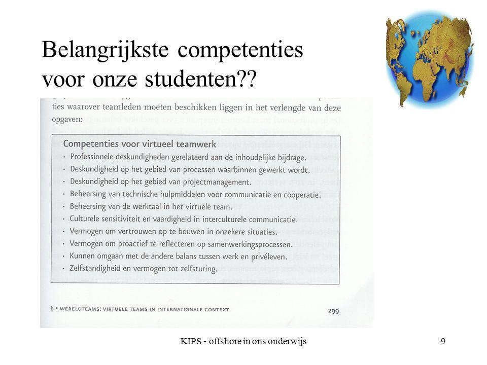 KIPS - offshore in ons onderwijs10 Internationaal teamwerk in het onderwijs vereist: Taaldelen Kennis van en oog voor diversiteit Flexibel.