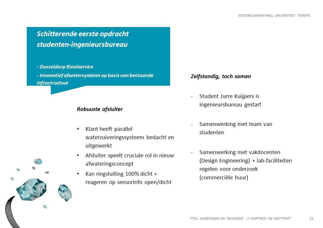 WETENSCHAPSWINKEL UNIVERSITEIT TWENTE. Zelfstandig, toch samen -Student Jurre Kuijpers is ingenieursbureau gestart -Samenwerking met team van studente
