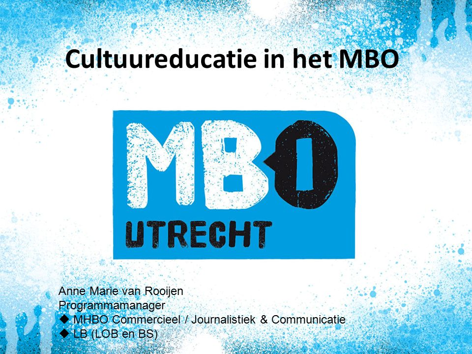 Cultuureducatie in het MBO Anne Marie van Rooijen Programmamanager  MHBO Commercieel / Journalistiek & Communicatie  LB (LOB en BS)