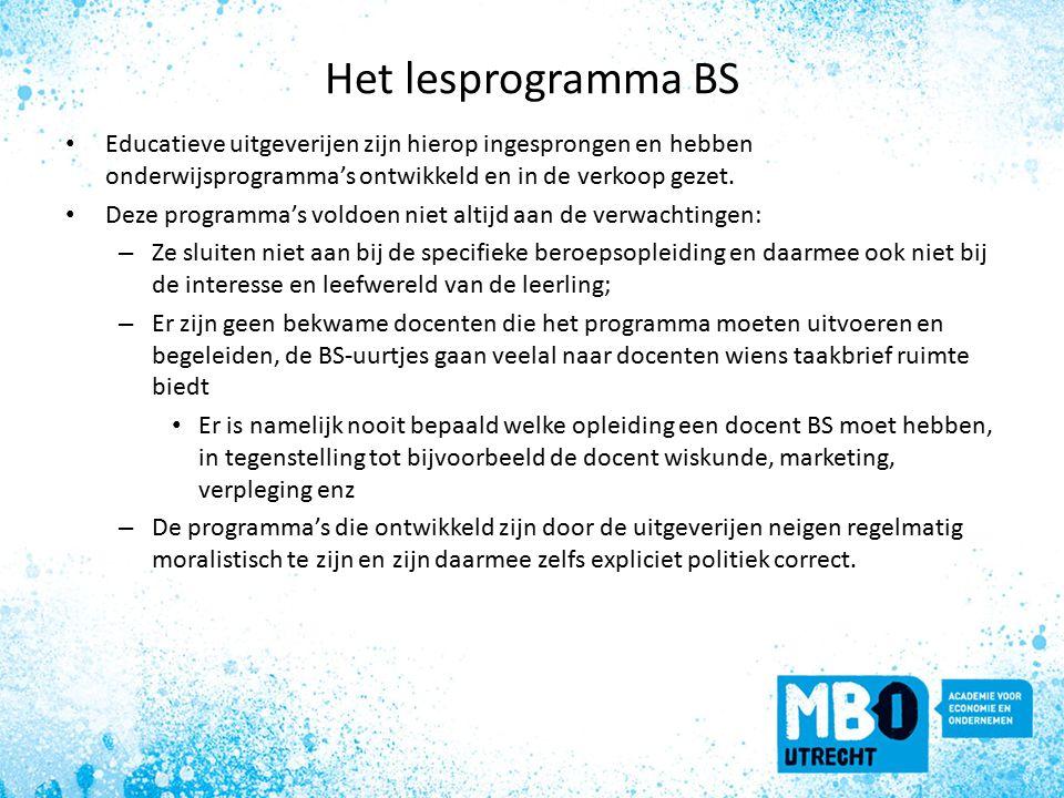 Het lesprogramma BS Educatieve uitgeverijen zijn hierop ingesprongen en hebben onderwijsprogramma's ontwikkeld en in de verkoop gezet.