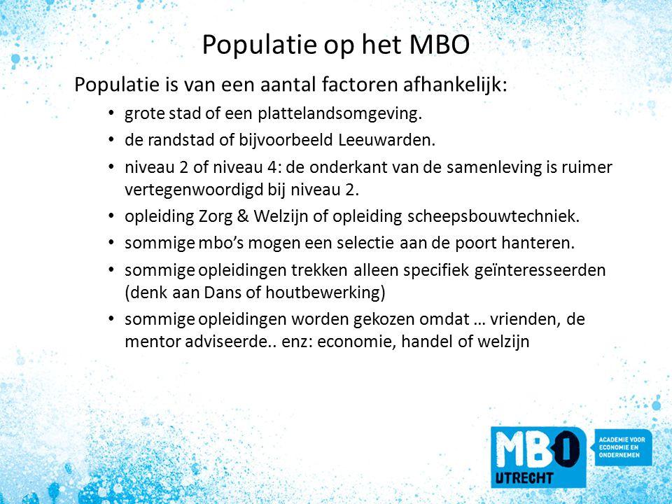 Populatie op het MBO Populatie is van een aantal factoren afhankelijk: grote stad of een plattelandsomgeving.