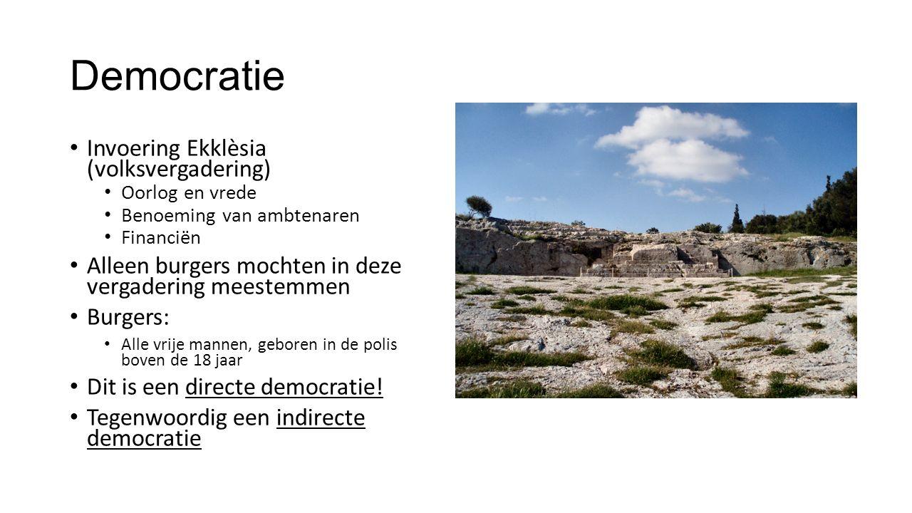 Democratie Invoering Ekklèsia (volksvergadering) Oorlog en vrede Benoeming van ambtenaren Financiën Alleen burgers mochten in deze vergadering meestem