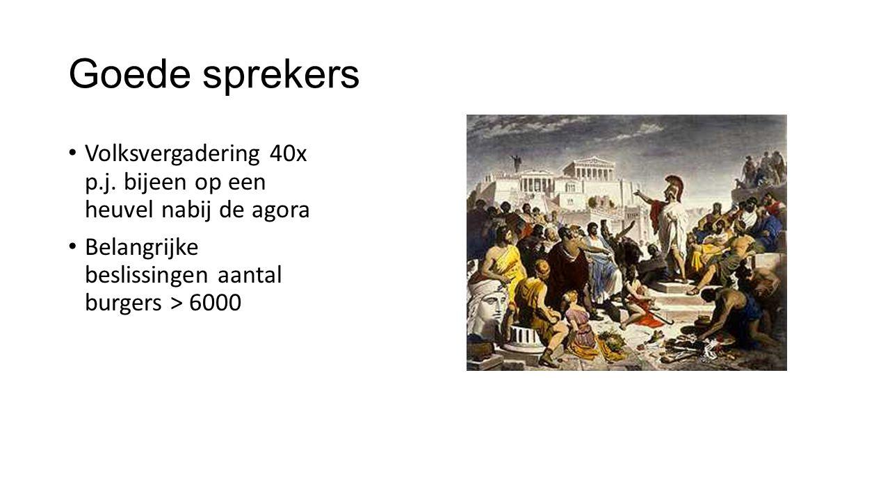 Goede sprekers Volksvergadering 40x p.j. bijeen op een heuvel nabij de agora Belangrijke beslissingen aantal burgers > 6000