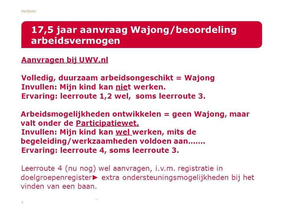 Het Bariet Aanvragen bij UWV.nl Volledig, duurzaam arbeidsongeschikt = Wajong Invullen: Mijn kind kan niet werken.