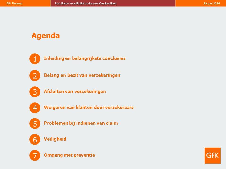 GfK FinanceResultaten kwantitatief onderzoek Kanaleneiland19 juni 2016 Agenda 1 Inleiding en belangrijkste conclusies 2 Belang en bezit van verzekerin