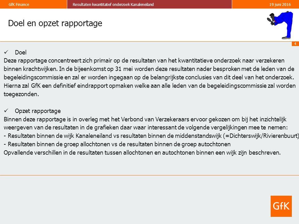 5 GfK FinanceResultaten kwantitatief onderzoek Kanaleneiland19 juni 2016 Doelstelling van het onderzoek Het totale onderzoek bestaat uit zowel een kwalitatief onderzoek (reeds afgerond) als een kwantitatief onderzoek.