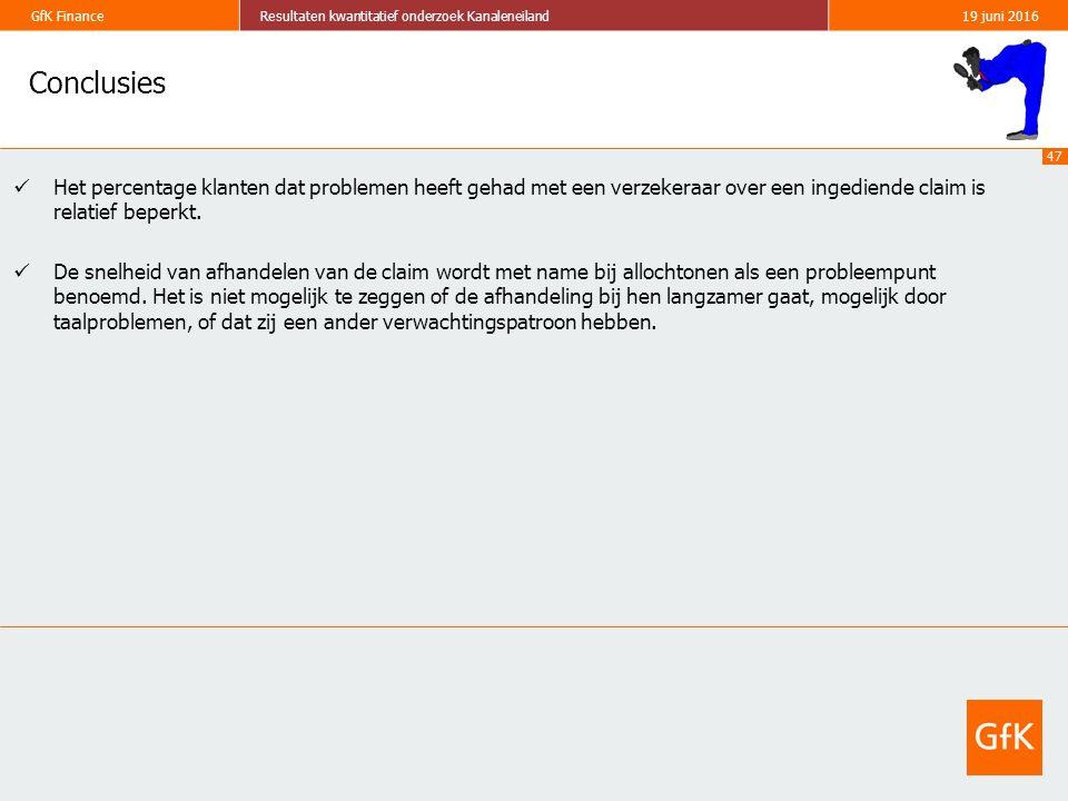 47 GfK FinanceResultaten kwantitatief onderzoek Kanaleneiland19 juni 2016 Conclusies Het percentage klanten dat problemen heeft gehad met een verzeker