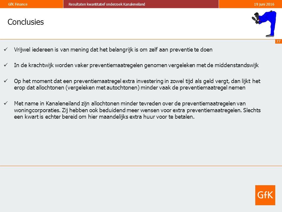 77 GfK FinanceResultaten kwantitatief onderzoek Kanaleneiland19 juni 2016 Conclusies Vrijwel iedereen is van mening dat het belangrijk is om zelf aan