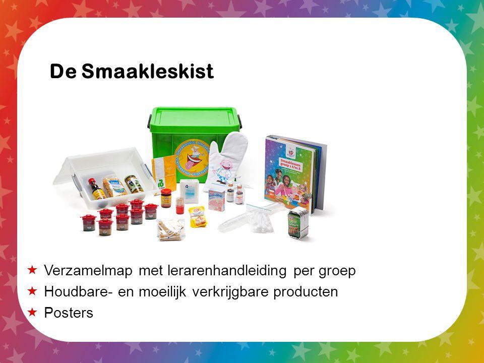  Verzamelmap met lerarenhandleiding per groep  Houdbare- en moeilijk verkrijgbare producten  Posters De Smaakleskist