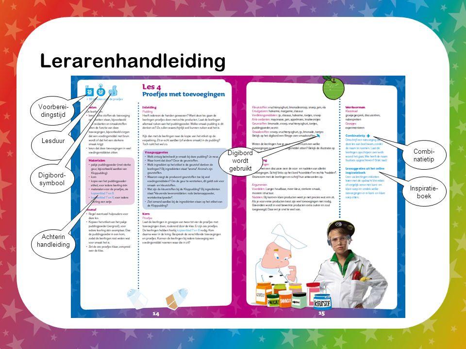 Lerarenhandleiding Voorberei- dingstijd Lesduur Digibord- symbool Combi- natietip Inspiratie- boek Digibord wordt gebruikt Achterin handleiding