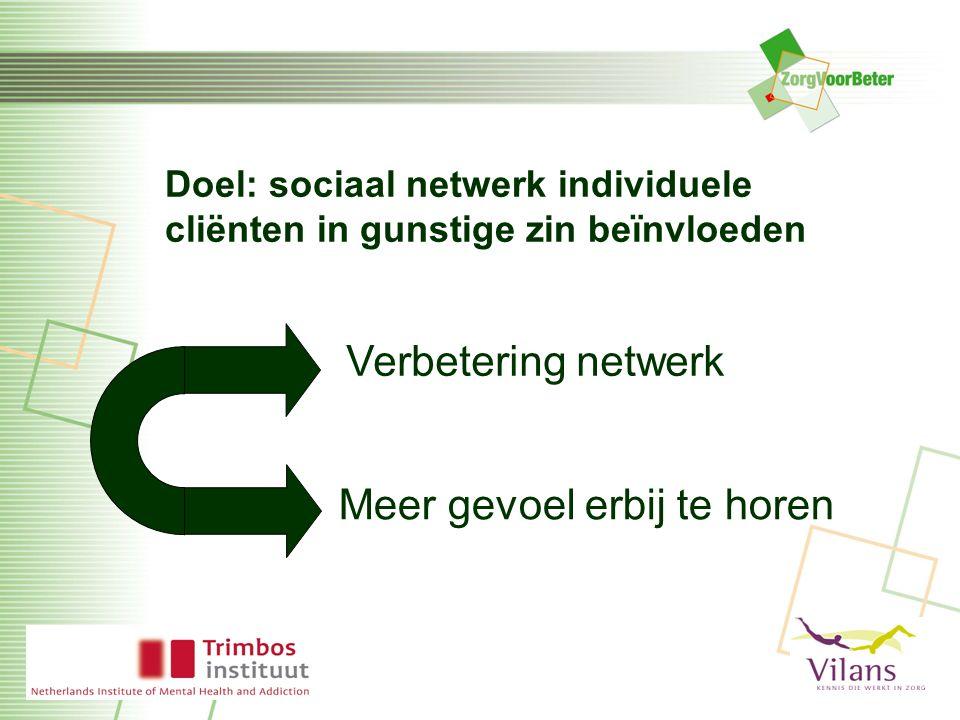 Doel: sociaal netwerk individuele cliënten in gunstige zin beïnvloeden Verbetering netwerk Meer gevoel erbij te horen
