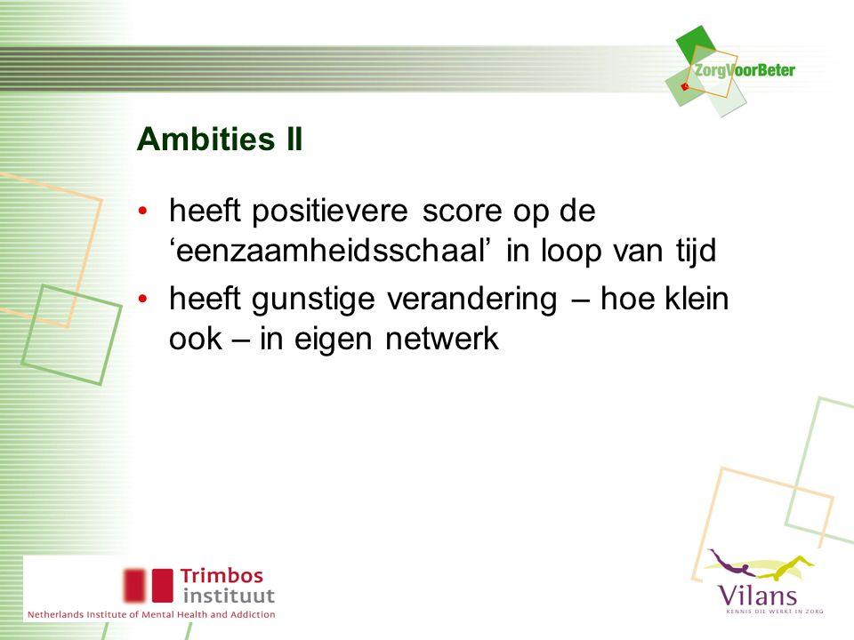 Ambities II heeft positievere score op de 'eenzaamheidsschaal' in loop van tijd heeft gunstige verandering – hoe klein ook – in eigen netwerk