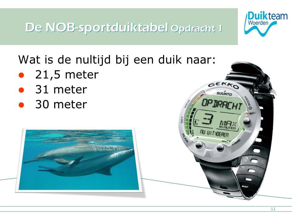 Nederlandse Onderwatersport Bond De NOB-sportduiktabel Opdracht 1 Wat is de nultijd bij een duik naar: 21,5 meter 31 meter 30 meter 11