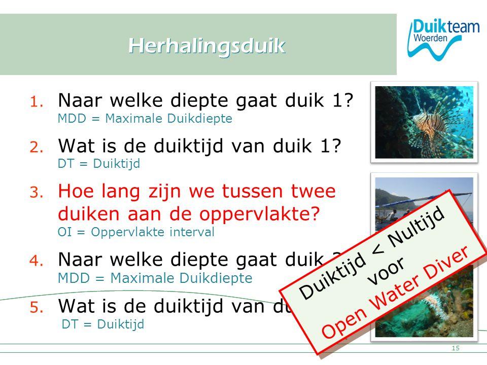Nederlandse Onderwatersport Bond Herhalingsduik 1. Naar welke diepte gaat duik 1? MDD = Maximale Duikdiepte 2. Wat is de duiktijd van duik 1? DT = Dui