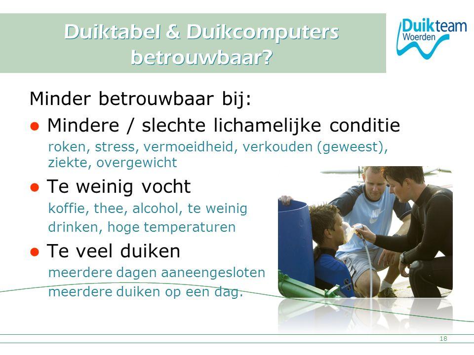 Nederlandse Onderwatersport Bond Duiktabel & Duikcomputers betrouwbaar? Minder betrouwbaar bij: Mindere / slechte lichamelijke conditie roken, stress,