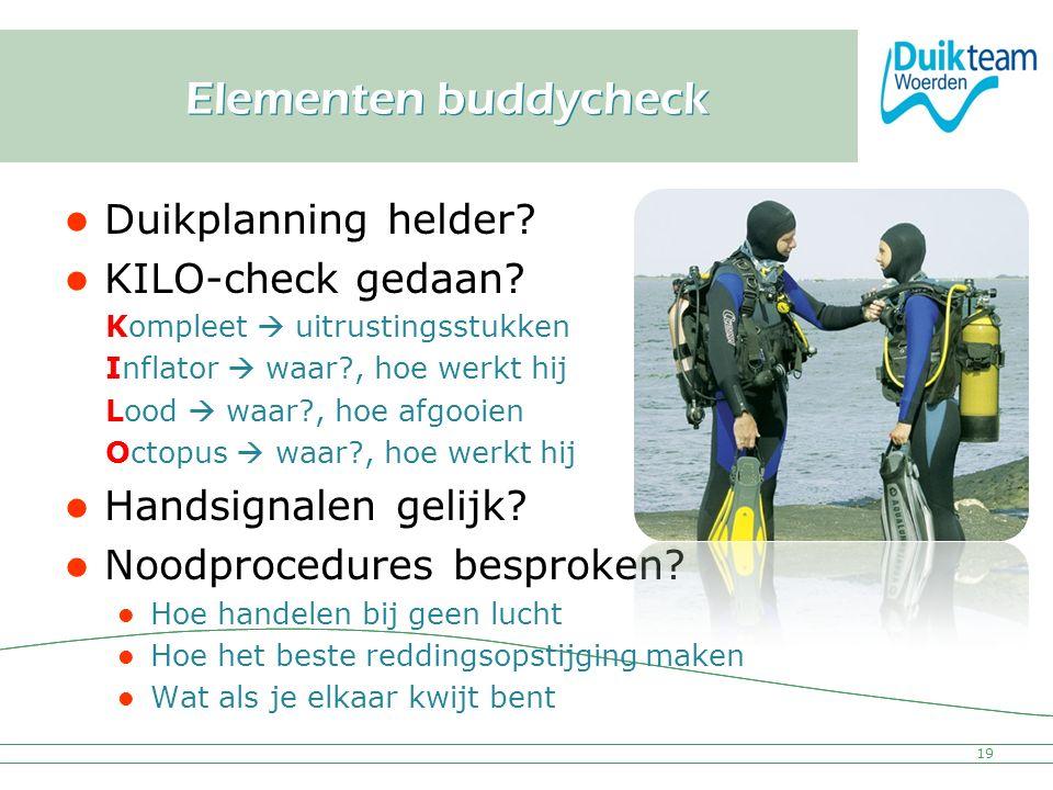 Nederlandse Onderwatersport Bond Elementen buddycheck Duikplanning helder? KILO-check gedaan? Kompleet  uitrustingsstukken Inflator  waar?, hoe werk