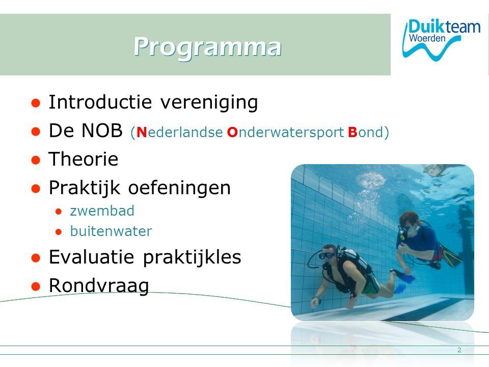 Nederlandse Onderwatersport Bond Programma Introductie vereniging De NOB (Nederlandse Onderwatersport Bond) Theorie Praktijk oefeningen zwembad buiten
