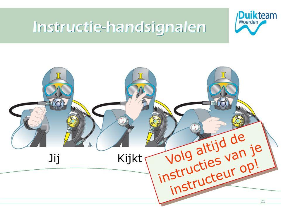 Nederlandse Onderwatersport Bond Instructie-handsignalen 21 JijKijkt Naar mij Volg altijd de instructies van je instructeur op! V o l g a l t i j d d