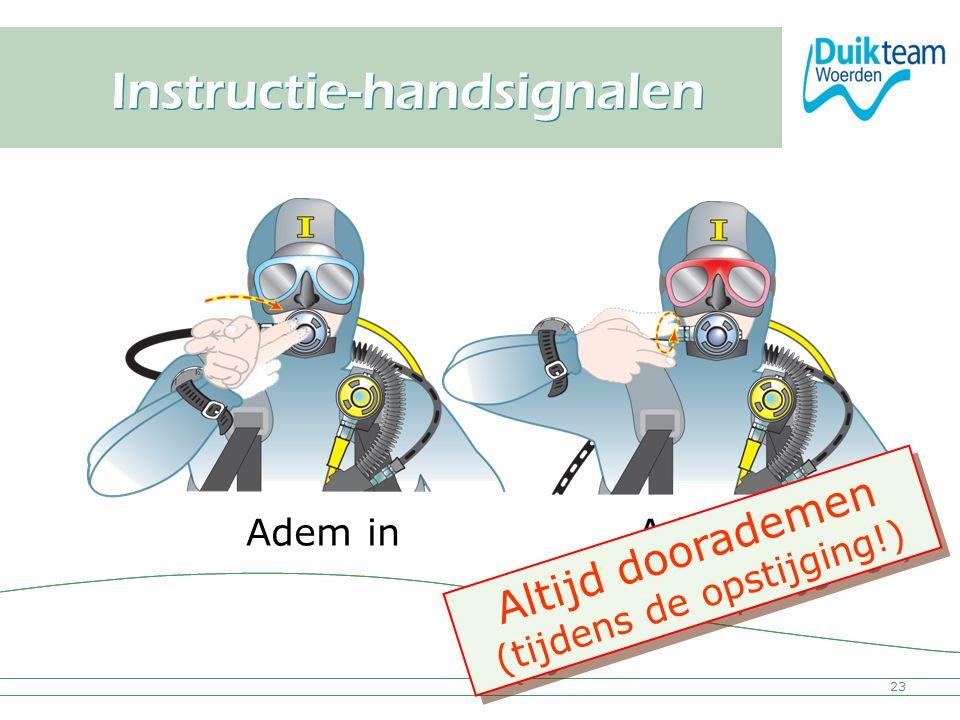Nederlandse Onderwatersport Bond Instructie-handsignalen 23 Adem inAdem uit Altijd doorademen (tijdens de opstijging!) A l t i j d d o o r a d e m e n