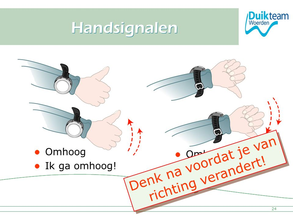 Nederlandse Onderwatersport Bond Handsignalen 24 Omhoog Ik ga omhoog! Omlaag Ik ga omlaag! Denk na voordat je van richting verandert! D e n k n a v o