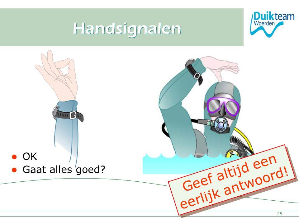 Nederlandse Onderwatersport Bond Handsignalen 25 OK Gaat alles goed? Geef altijd een eerlijk antwoord! G e e f a l t i j d e e n e e r l i j k a n t w