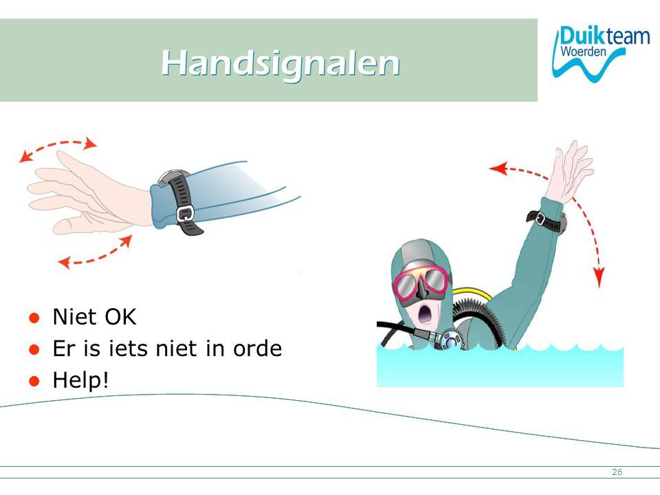 Nederlandse Onderwatersport Bond Handsignalen 26 Niet OK Er is iets niet in orde Help!