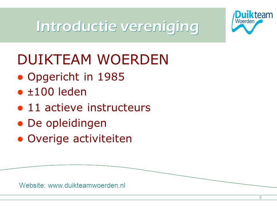 Nederlandse Onderwatersport Bond Introductie vereniging DUIKTEAM WOERDEN Opgericht in 1985 ±100 leden 11 actieve instructeurs De opleidingen Overige a