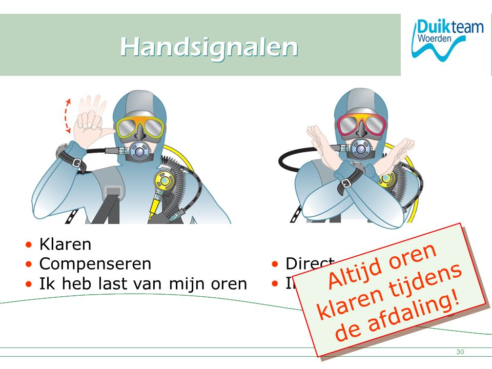 Nederlandse Onderwatersport Bond Handsignalen 30 Klaren Compenseren Ik heb last van mijn oren Direct stoppen Ik wil ermee stopen Altijd oren klaren ti