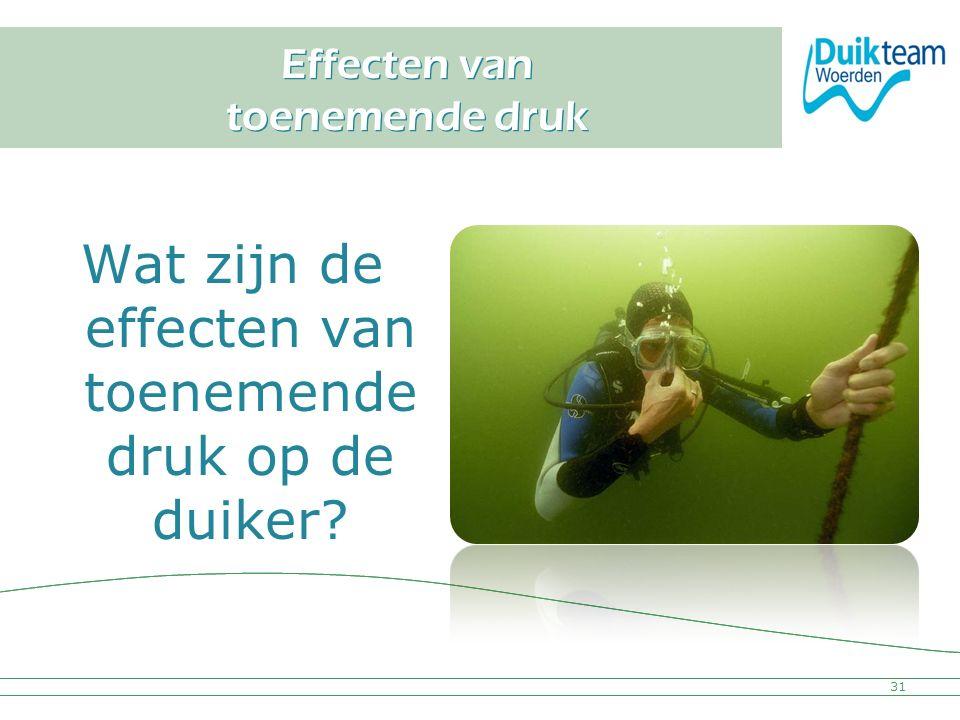 Nederlandse Onderwatersport Bond Effecten van toenemende druk Wat zijn de effecten van toenemende druk op de duiker? 31