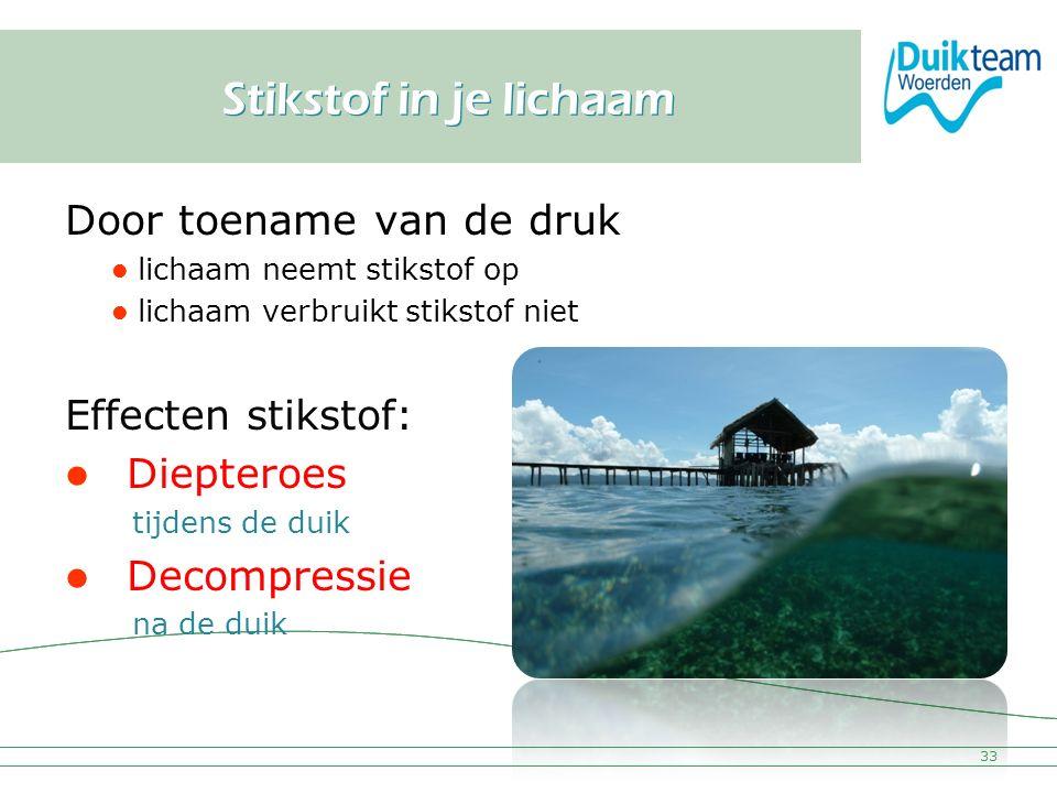 Nederlandse Onderwatersport Bond Stikstof in je lichaam Door toename van de druk lichaam neemt stikstof op lichaam verbruikt stikstof niet Effecten st